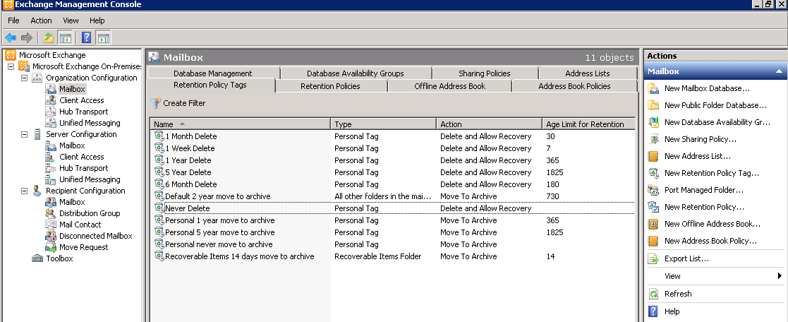 Exchange 2010: Retention Tags and Policies – ExchangeOnline